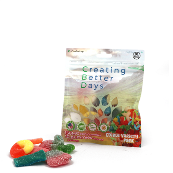 CBD Sour Gummy Variety Pack  infused with CBD.  Safe, gentle, and effective, this formulation provides naturally occurring antioxidants to support a healthy endocannabinoid system. This formula and all Creating Better Days formulas are 100% THC-free and non-psychoactive.