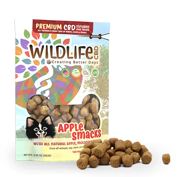 Premium CBD Dog treats are wheat-free, corn-free, and soy-free! Each biscuit is formulated with the nano-amplified CBD and each bag of delicious treats comes with 60 – 2.5mg, wheat-free, corn-free, and soy-free treats. A delicious blend of apple and molasses is a perfect way to treat your pet. Made for any sized dog. This formula is 100% THC-free and non-psychoactive.
