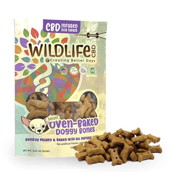 Nano-CBD Mini Dog Bone Treats 150mg are unique, artisanal gourmet baked treats infused with Nano-Amplified CBD. For for large or small breeds, each bag include thirty 5MG bones.These oven-baked crunchy biscuits are a delicious way reward your pup. They're naturally preserved with vitamin E so there's no need for artificial preservatives. This formula is 100% THC-free and non-psychoactive.