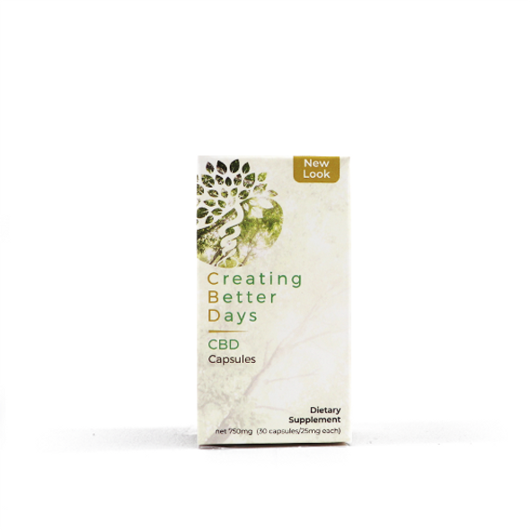 Creating Better Days cannabidiol (CBD) capsules provide a well-balanced blend of MCT oil and cannabinoids for optimum endocannabinoid support. This signature formulation delivers a full profile of cannabinoids with 100% THC-free broad spectrum CBD. Each bottle contains 30 easy to dose 25mg gel capsules.