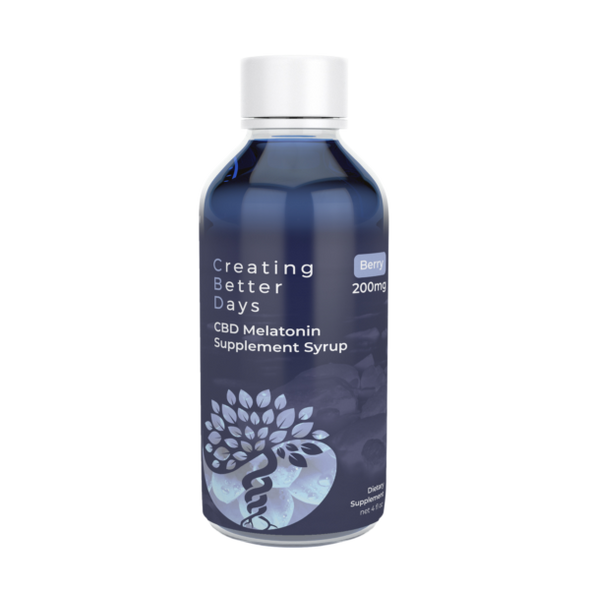 Relaxation and sleep assistance night time syrup infused with 200mg of fast acting nano-amplified CBD and 10 mg of Melatonin. Helps promote a consistent and healthy circadian rhythm to promote better overall health. Safe, gentle, and effective, this formulation provides naturally occurring antioxidants to support a healthy endocannabinoid system. This formula and all Creating Better Days formulas are 100% THC-free and non-psychoactive.