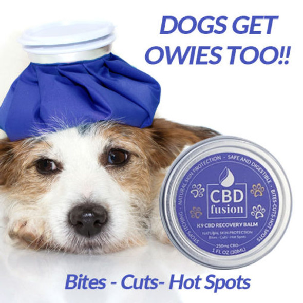 CBD Fusion K9 CBD Recovery Balm will disinfect, heal cuts and wounds quickly. Also, protect the skin from unusual rashes, dryness, flaking and other types of irritation. It's a natural bug, flea and tick repellent, and can be applied to the nose, paws or skin.