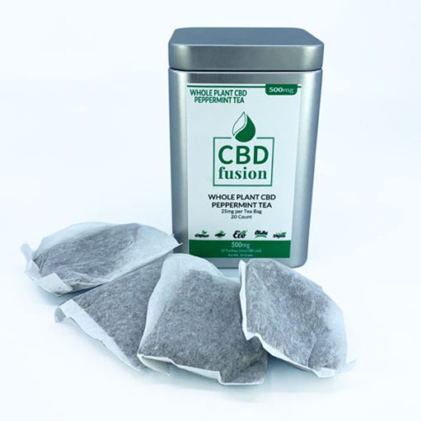 500mg CBD Fusion Full-Spectrum Whole Plant CBD Tea paired with a refreshing natural peppermint. 20 tea bags with 25mg CBD Fusion full-spectrum whole plant hemp with a natural peppermint up to 0.3% THC