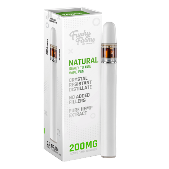 Natural CRD 200mg Vape Pen is the best natural vape extract in the industry. Single use and ready to vape, our Broad Spectrum Crystal Resistant Distillate (CRD) comes from a US-grown farm and lab. This product is formulated with no added cutting agents and no fillers, just pure hemp and terpenes!