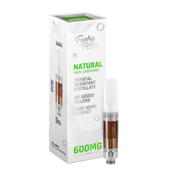 Funky FarmsReserve Line Natural 600mg Cartridge is the best natural vape extract in the industry. Compatible with any 510-thread cartridge battery, our Broad Spectrum Crystal Resistant Distillate (CRD) comes from a US-grown farm and lab. This product is formulated with no added cutting agents and no fillers.