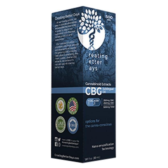 Creating Better Days has come out with our 1:1 ratio CBG/CBD sublingual oil with our consistent devotion to providing customers with the best CBD products on the market we have focused on minor cannabinoids.  CBG is the precursor to some of the most prevalent cannabinoids like CBD or THC. Let us Create Better Days for you starting with CBG.