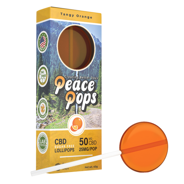 Buy CBD lollipops! Peace Pops are fat-free, gluten-free, vegan, and contain 50mg of CBD per lollipop. Made with 100% all natural and organic Hemp CBD