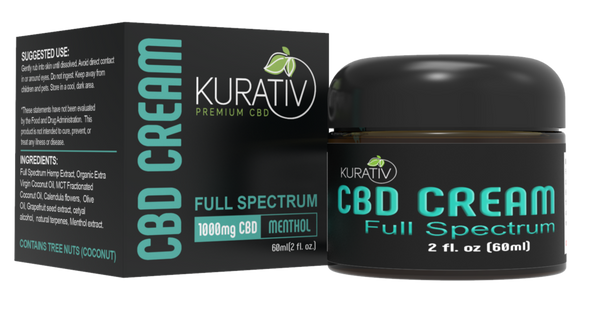 Kurative 1000mg Full Spectrum Cream. Handmade in small batches using calendula flower extract, these full spectrum creams are our best-sellers in this category.All natural ingredients and essential oils result in a smooth, thick texture with no oily residue.