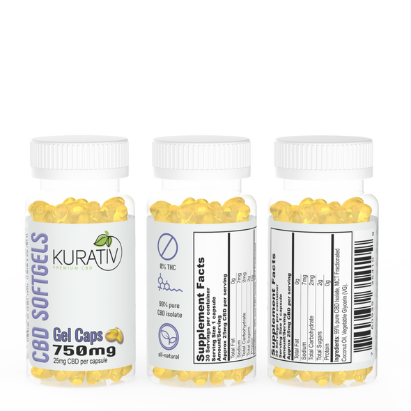 Kurativ CBD SoftGel Capsules – 25mg CBD each – MCT / CBD Isolate. gelcaps contain an exact dose of 25mg CBD and are available in 750mg, 30 count bottles.