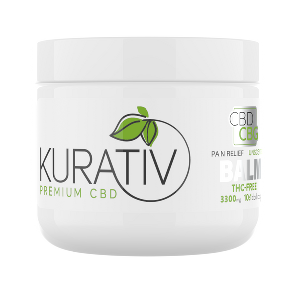 Kurativ CBD / CBG Moisturizing Skin Balm THC-Free 10:1 825mg - 3300mg Skin Balm soothes, relieves, and hydrates your skin.We start with all natural, simple ingredients and then infuse with THC-Free cbd and cbg extracts. This highly concentrated balm is available in 1oz. and 4oz. jars.