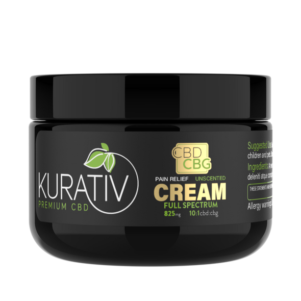 Kurativ's cbd/cbg cream. We start by extracting oil from calendula flower, then combine with full spectrum cbd / cbg extracts and a perfect balance of premium essential oils and other nourishing ingredients. Kurativ's soothing cream absorbs quickly into your skin. Gentle and effective, can be used daily as needed. Choose from Unscented or Cooling Menthol.