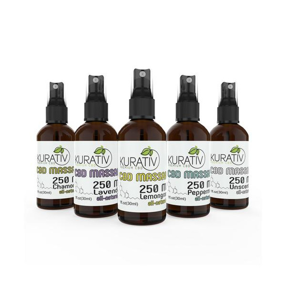 Kurativ CBD massage oils are potent and fast-acting. Almond oil, vitamin E and essential oils compliment CBD in each one ounce bottle. Beware: You will never want a massage without it again. Each bottle is fitted with a spray applicator cap, and is available in Lavender, Lemongrass, Peppermint, Chamomile, and Unscented.