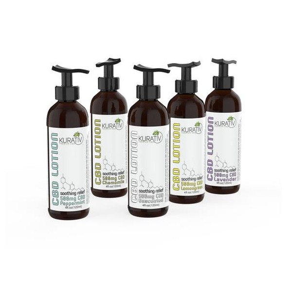 Kurativ CBD topical product lineup.  Housed in a 4 ounce bottle with convenient pump applicator and containing all of the relieving power of Kurativ CBD cream with extra moisturizing ingredients.  Our 500mg CBD lotion is available in 4 essential oil-infused fragrances or unscented.