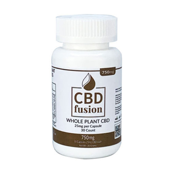 CBD Fusion 750mg CBD Whole Plant Capsules (25mg each/30ct).  Vegan whole plant using 100% Full Spectrum CBD. This is a 100% Vegan product which we are sure will satisfy your daily CBD requirements.