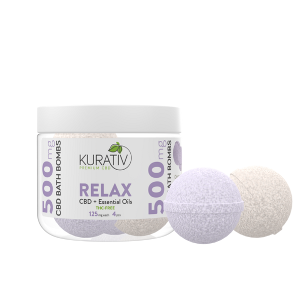 Kurativ CBD Bath Bombs Relax Pack Lavender & Chamomile 500mg 4-pack. Rejuvenate your mind, body and soul after a long day. Throw a few of these highly concentrated Kurativ bath bombs into a hot bath and melt the stress away. Our hand pressed 4-pack mini bath bombs contain a whopping 125mg of CBD each, healing Epsom Salt, and premium essential oils.