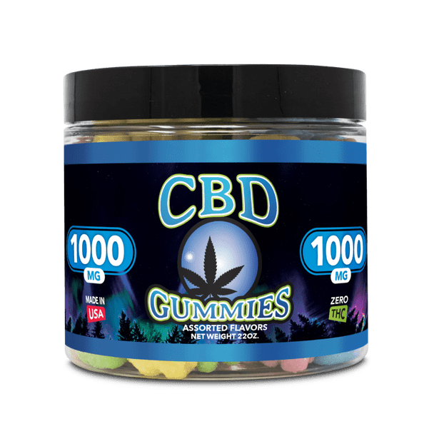 Blue Moon Hemp - CBD Gummies – 22oz 1000mg.  CBD Gummies pack a variation of Gummy Worms, Bears and Drops, each delivering 7mg of soothing hemp-derived cannabinoid extracts in a mouth-watering sweet n' sour gummy.