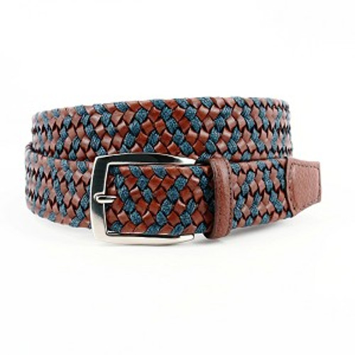 Torino Italian Braided Leather/Linen Belt