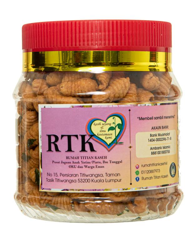 350g jar of Kuih Siput snacks by Kaseh Cookies
