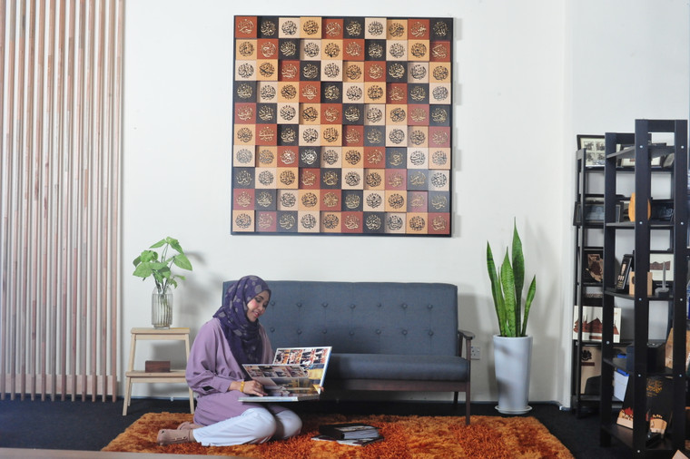 99 Names of Allah 3D Cubes Wall Khat 5 x 5 ft. Frame in 3 Combination Wood Colour
