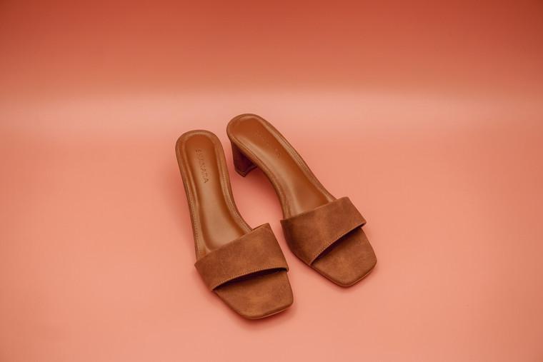 SHANARA Nur Slip-On Mid Heels in Tan colour