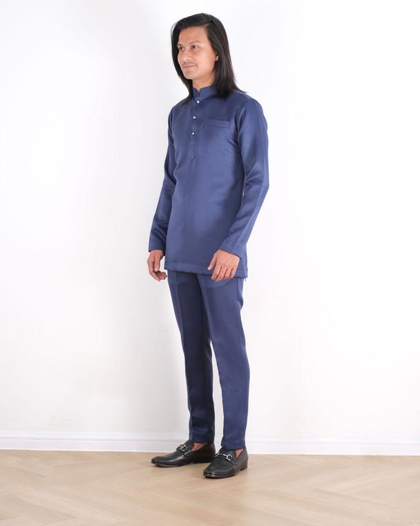 ADNAA Baju Melayu Slim Fit Duchess Satin 3 Butang in Navy Blue