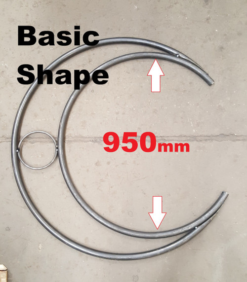 The basic unit users a standard 950mm hoop for the inside arc. Bigger units can be made to order.