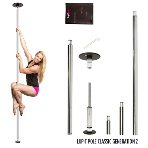 "Spin-static, multi-piece, removable, portable dance pole. LP Chrome finish is more ""grippy"", so is a very good choice for beginners or people with slippery hands, as it is more forgiving of weaker handgrip strengths. It has excellent grip and has a very smooth texture. Pole has been designed for quick installation without drilling, in just few minutes by a single person. Quality surface, unique upper disc Flex System and NEW Safety Block Nut ensures quicker installation and maximum safety to the dancer."