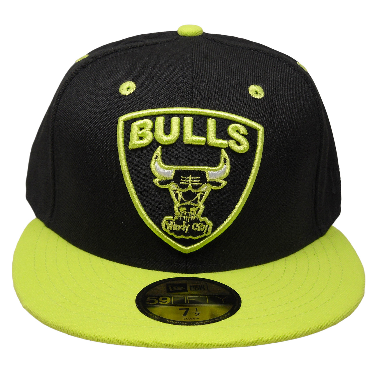 fc70a1707c0cdb Chicago Bulls New Era Custom 59Fifty Fitted Hat - Black, Neon Green, White  - ECapsUnlimited.com