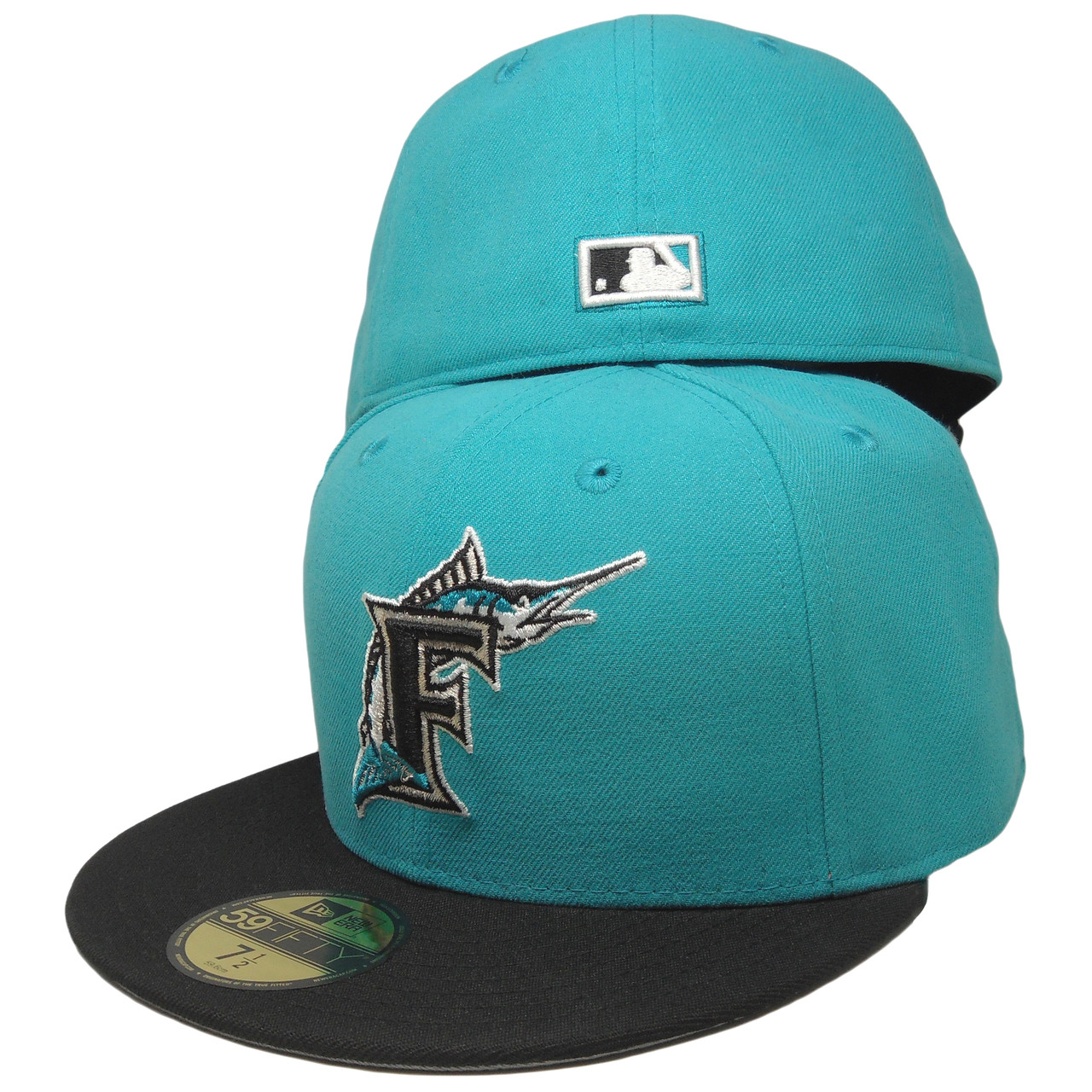 006cdf84671a22 Florida Marlins New Era K93-96 59Fifty Fitted Hat - Teal, Black, Silver -  ECapsUnlimited.com