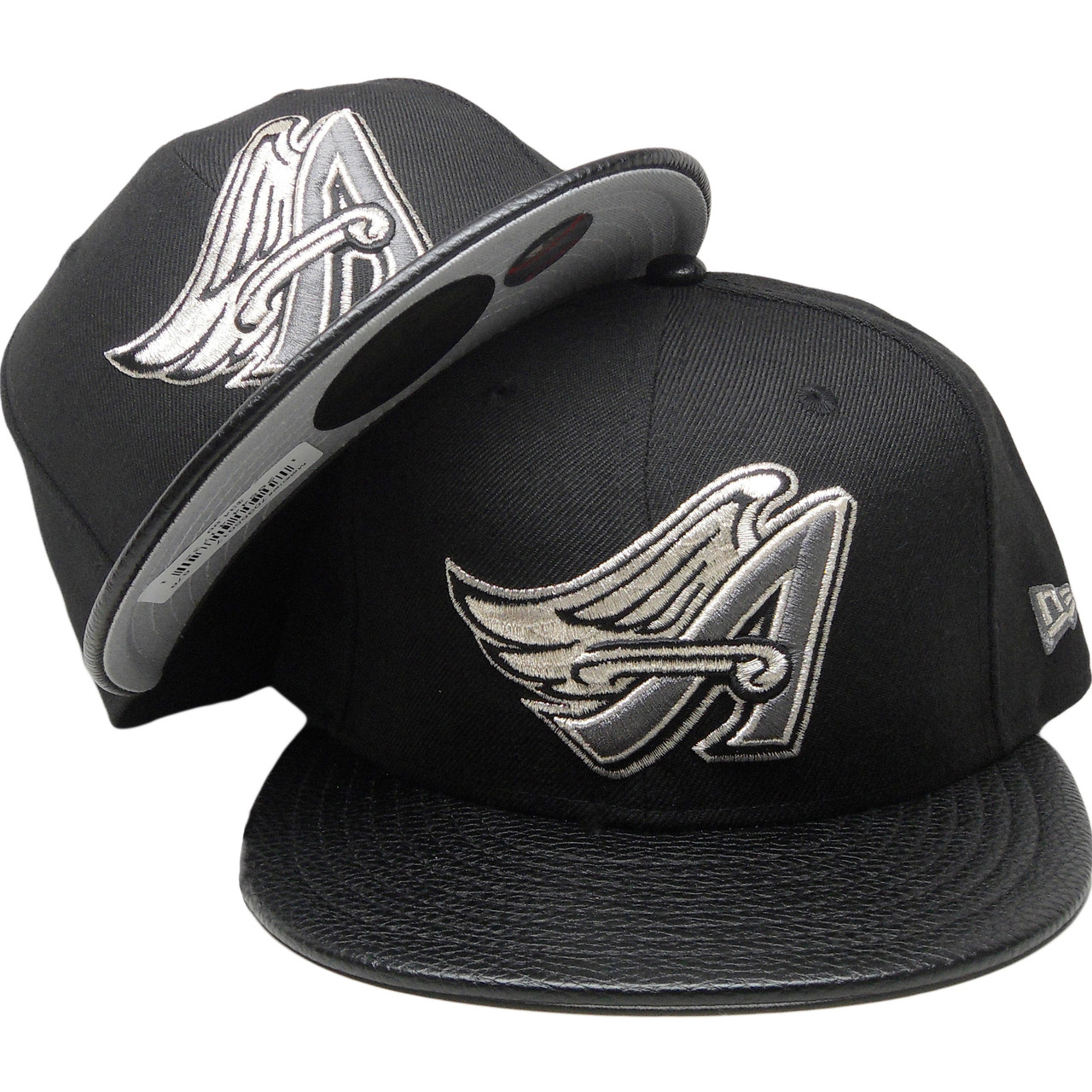 9c1d7bb5d8397 Anaheim Angels New Era Custom 59Fifty Fitted Hat - Black, Gray, Silver -  ECapsUnlimited.com