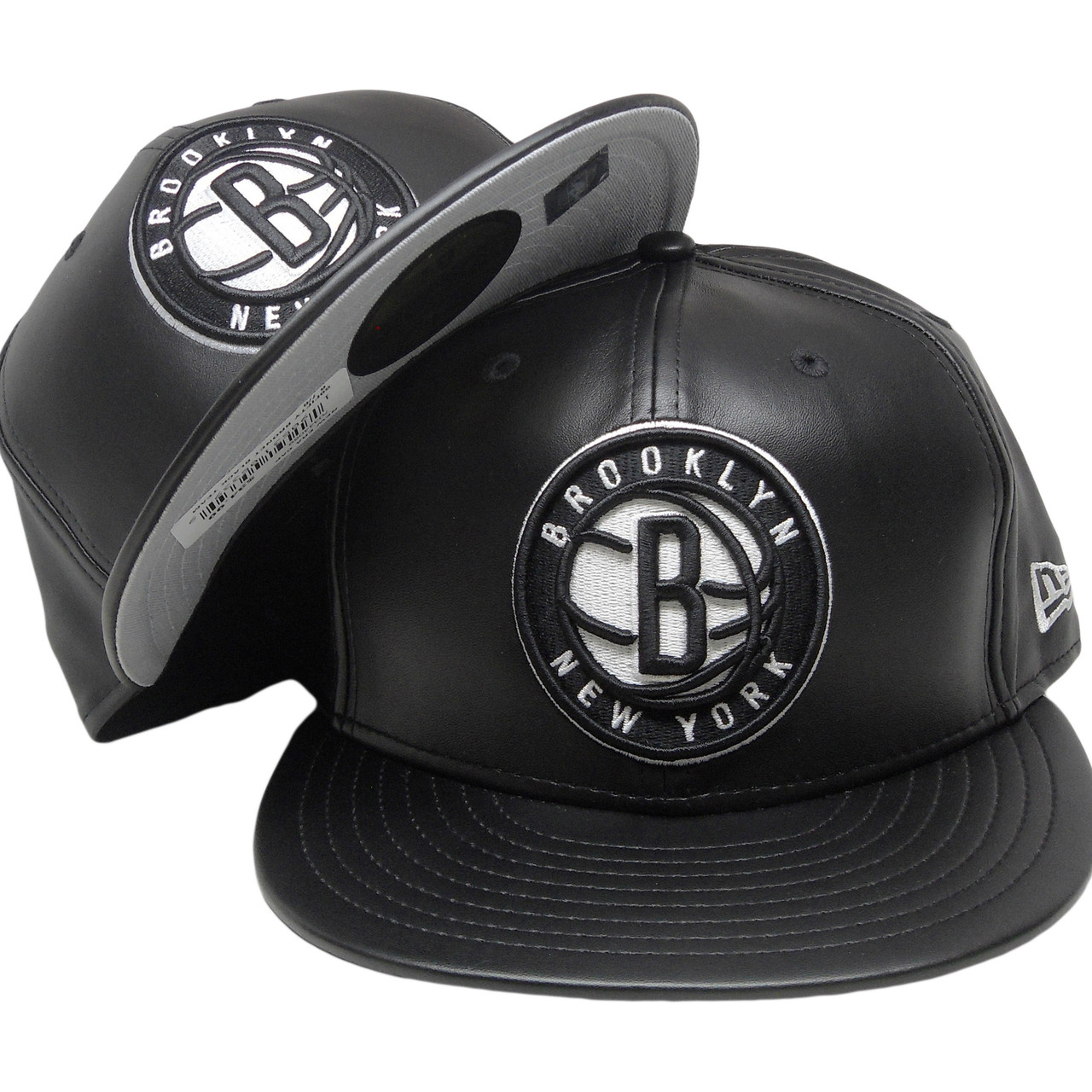 wholesale dealer 11b69 e6f1e Brooklyn Nets New Era 59Fity Black Team Fitted Hat - Black Leather, White