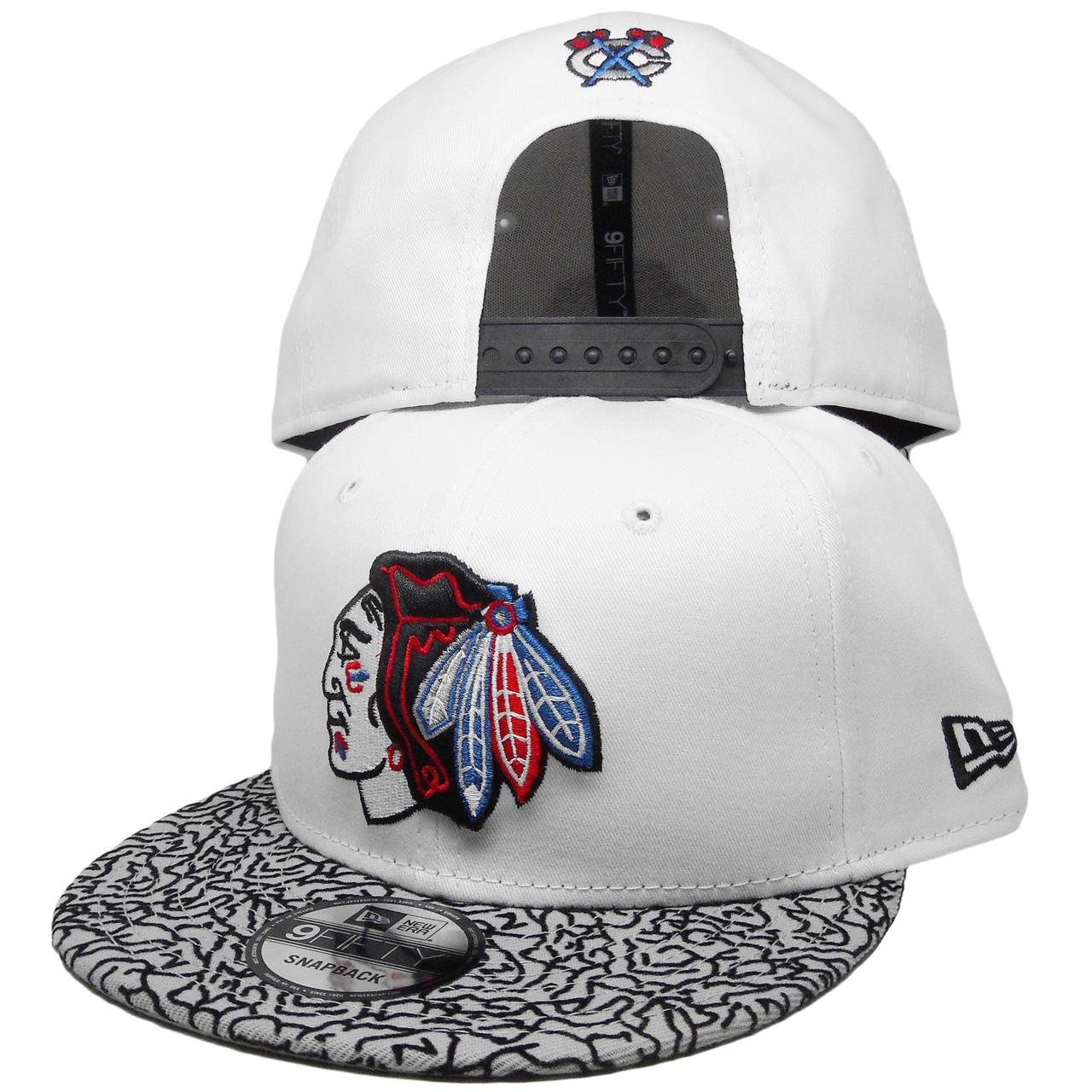 315fa6717 Chicago Blackhawks New Era 9Fity Custom Snapback Hat - White, Cement, Red -  ECapsUnlimited.com
