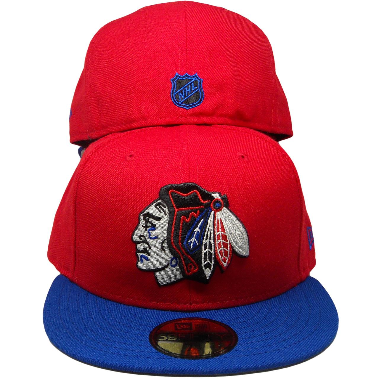 alennuksessa Yhdistynyt kuningaskunta myyntipisteiden myynti Chicago Blackhawks New Era Custom 59Fifty Fitted Hat - Red, Royal, Black