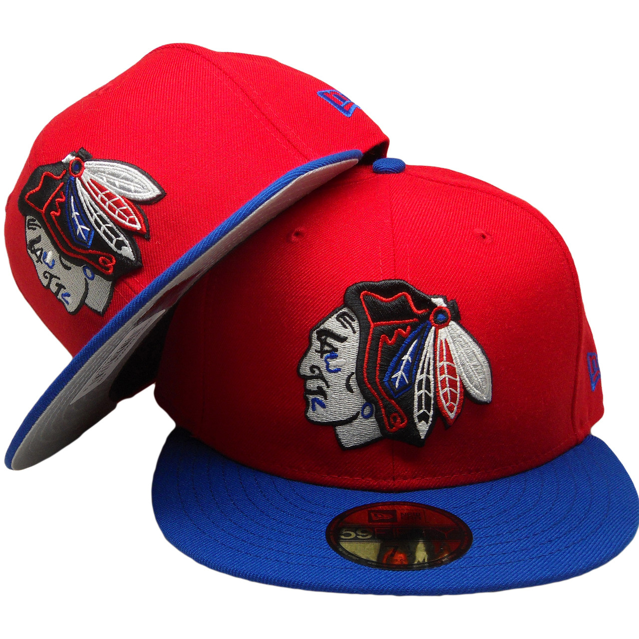a7fea059 Chicago Blackhawks New Era Custom 59Fifty Fitted Hat - Red, Royal, Black -  ECapsUnlimited.com