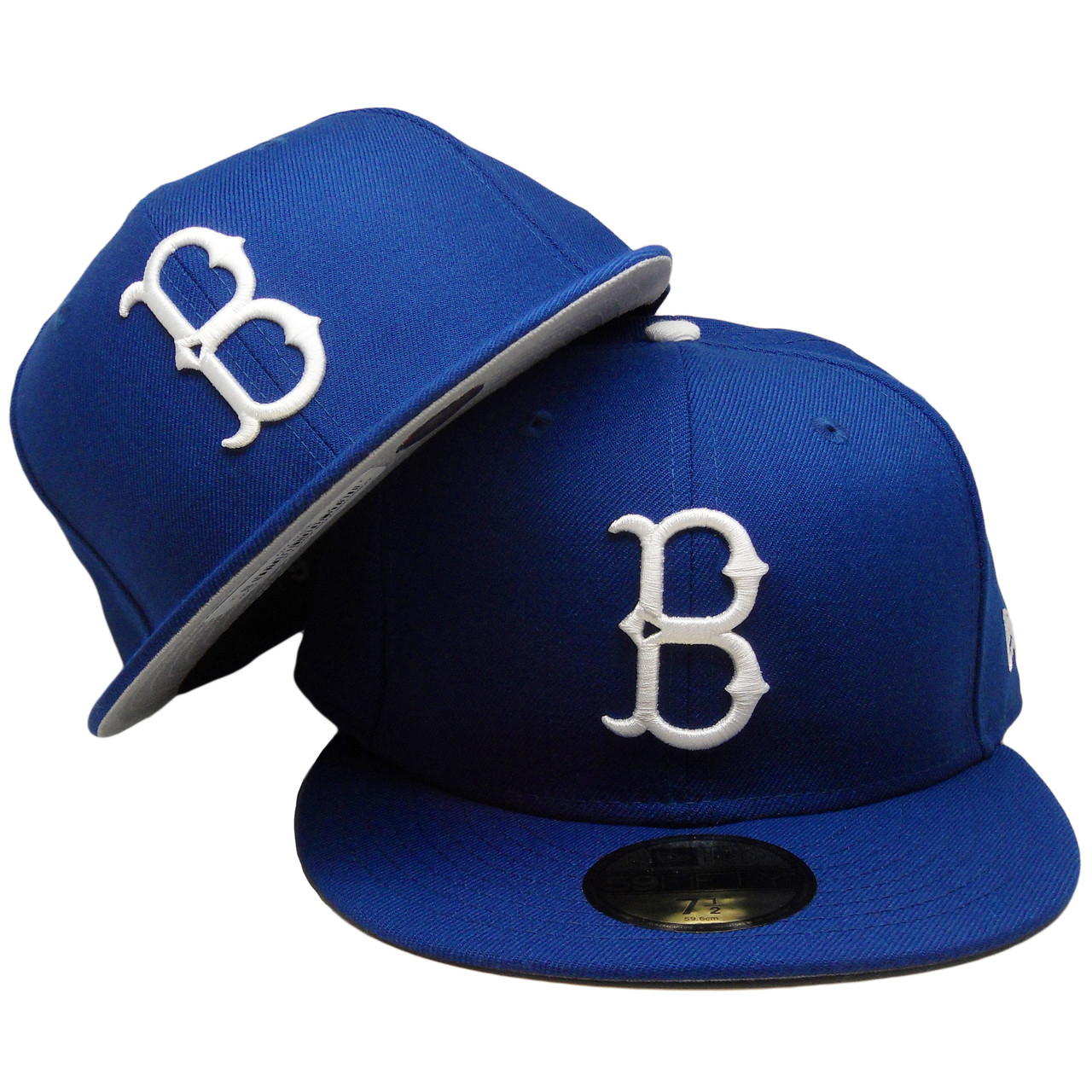 2b6e38103 Brooklyn Dodgers Custom Gray Bottom 59Fifty Fitted Hat - Royal, White -  ECapsUnlimited.com