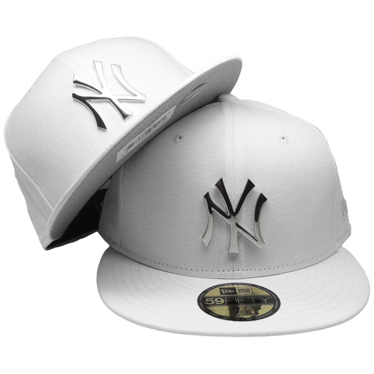 New York Yankees New Era Custom 59Fifty Fitted Hat - White, Silver Badge
