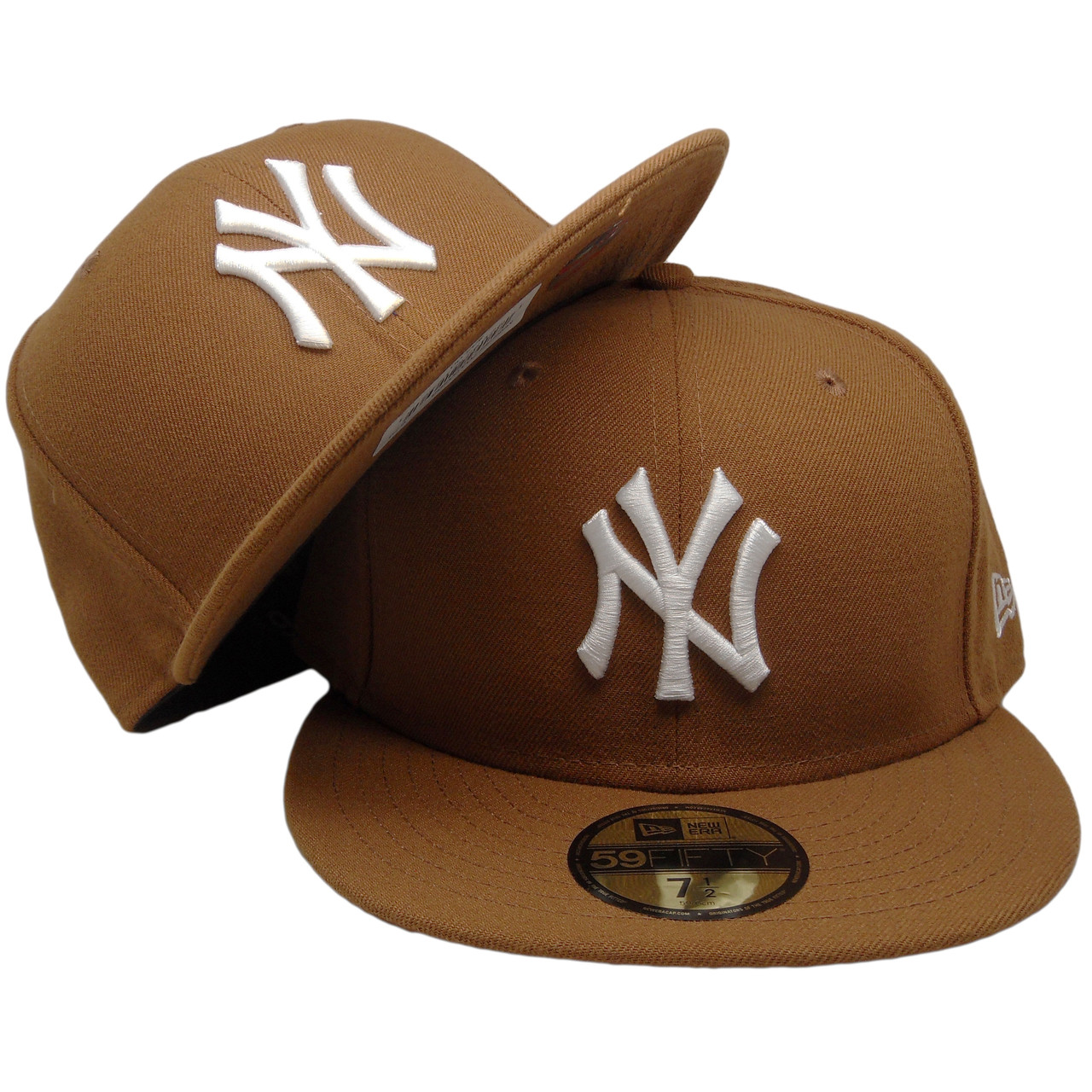 21a9514d4d8550 New York Yankees New Era Custom Basic Fitted Hat - Toasted Peanut, White -  ECapsUnlimited.com