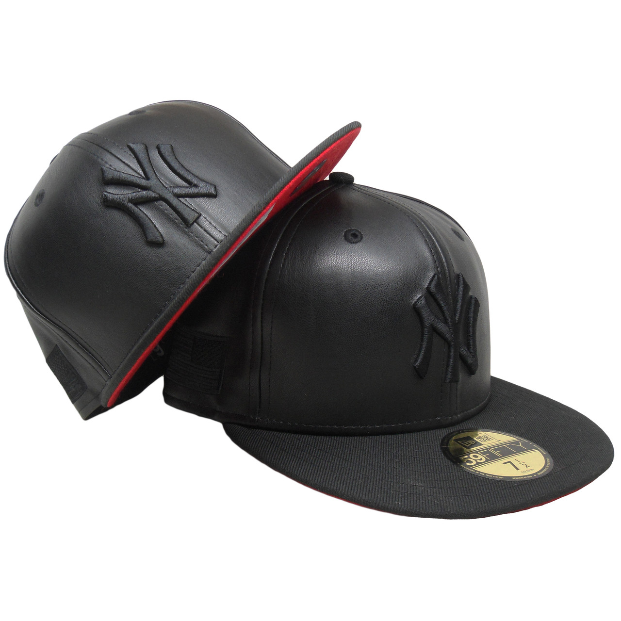 c3e52d1e3 New York Yankees Custom Faux Leather New Era 59Fifty Fitted - Black, Red