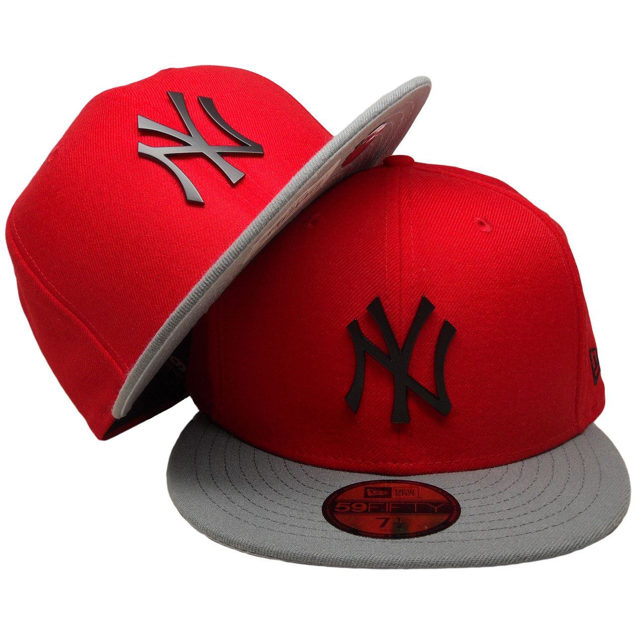 4d666f536 New York Yankees New Era Custom 59Fifty Fitted - Red, Gray, Black Badge logo