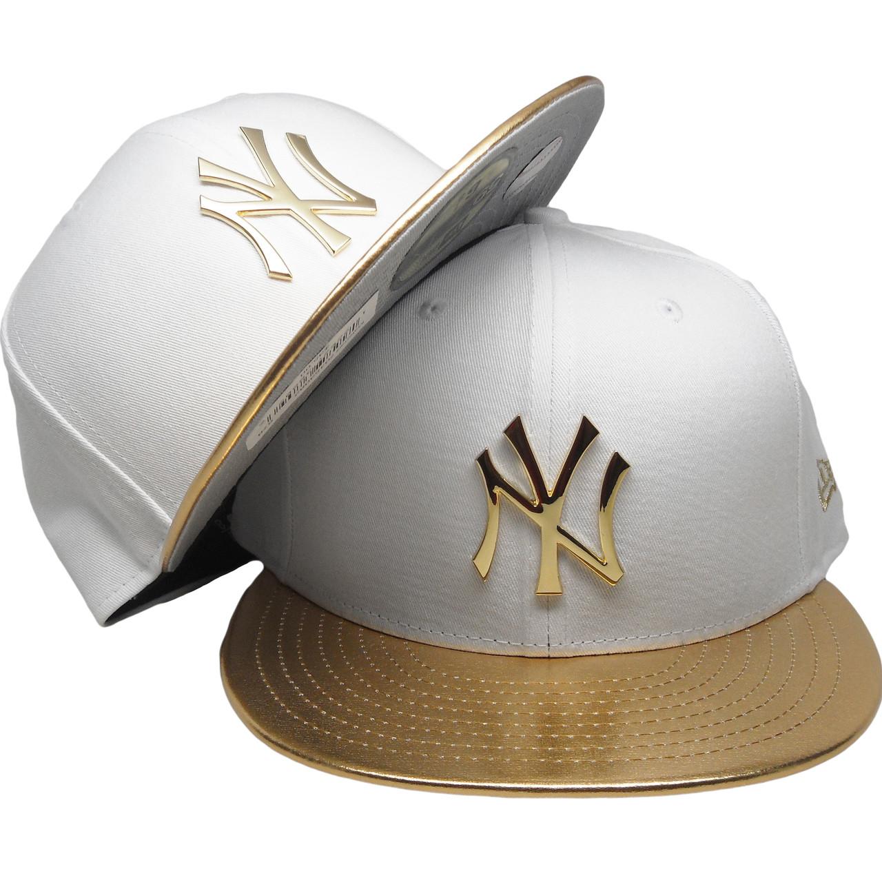 dffd2b26 New York Yankees New Era Custom 59Fifty Fitted - White, Gold Badge, Gold