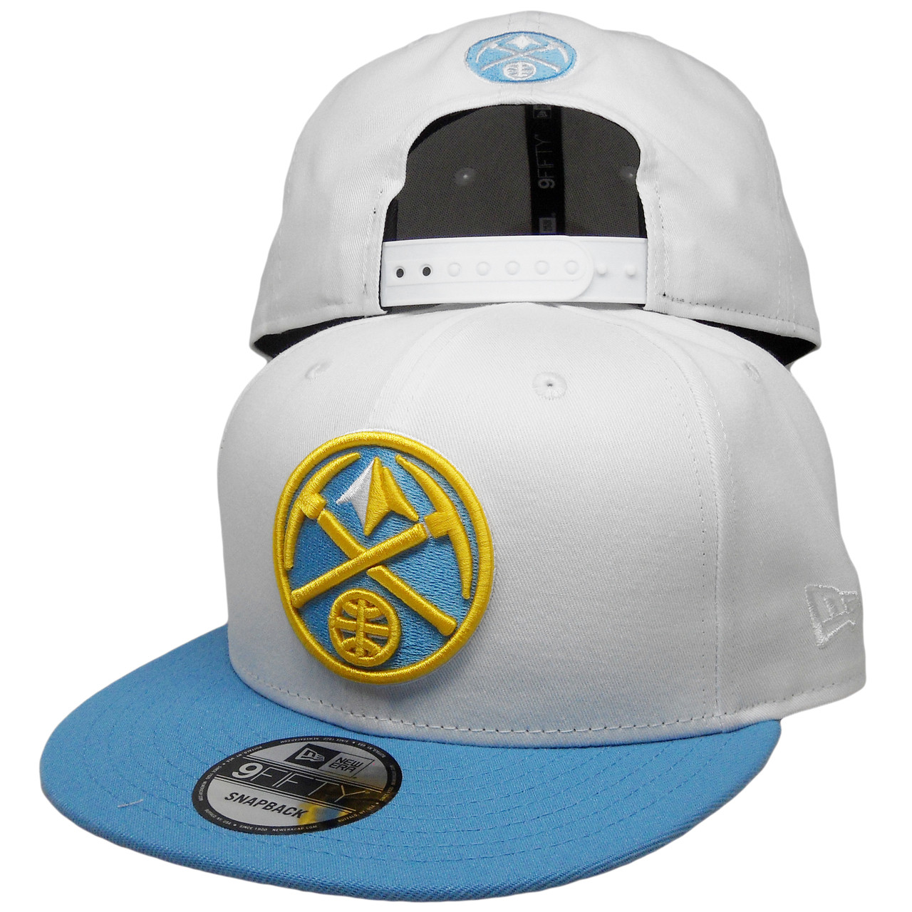 new product 65313 341d8 Denver Nuggets New Era Custom 9Fifty Snapback - White, Sky Blue, Yellow -  ECapsUnlimited.com