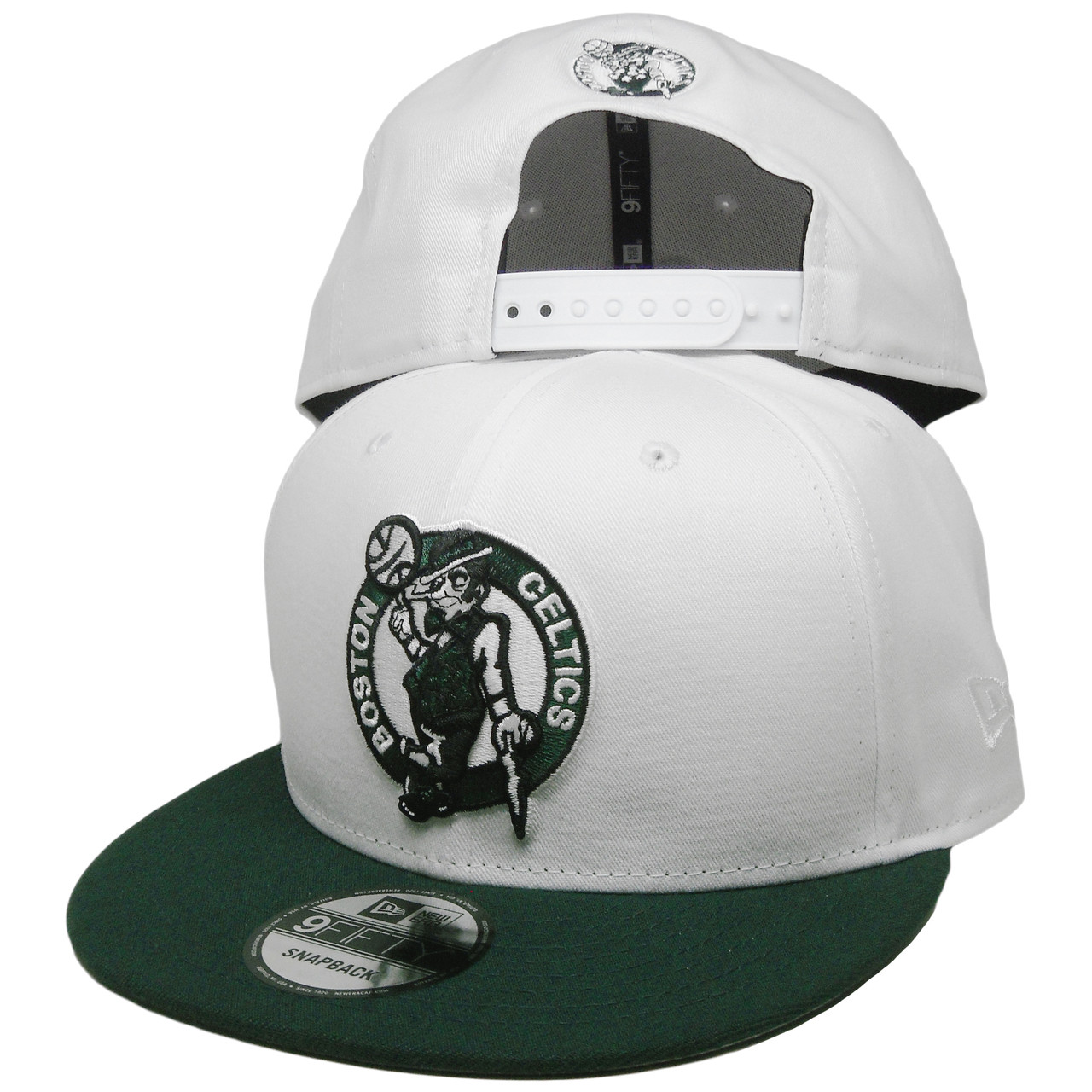 1034050f Boston Celtics New Era Custom 9Fifty Snapback Hat - White, Dark Green, Black  - ECapsUnlimited.com