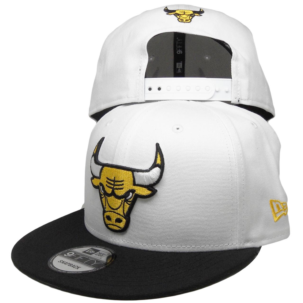buy popular 0be22 cb7fa Chicago Bulls New Era Custom 9Fifty Snapback Hat - White, Black, Yellow -  ECapsUnlimited.com
