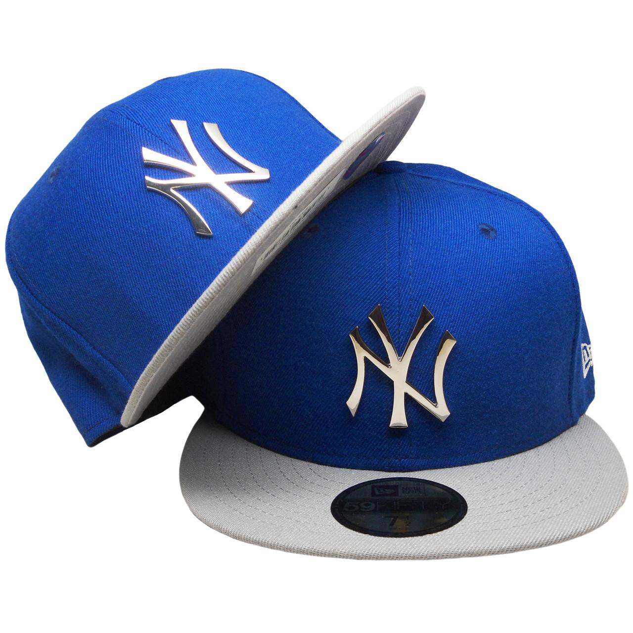 17b1048a New York Yankees New Era Custom Metallic Badge 59Fifty Fitted - Royal,  Gray, Silver