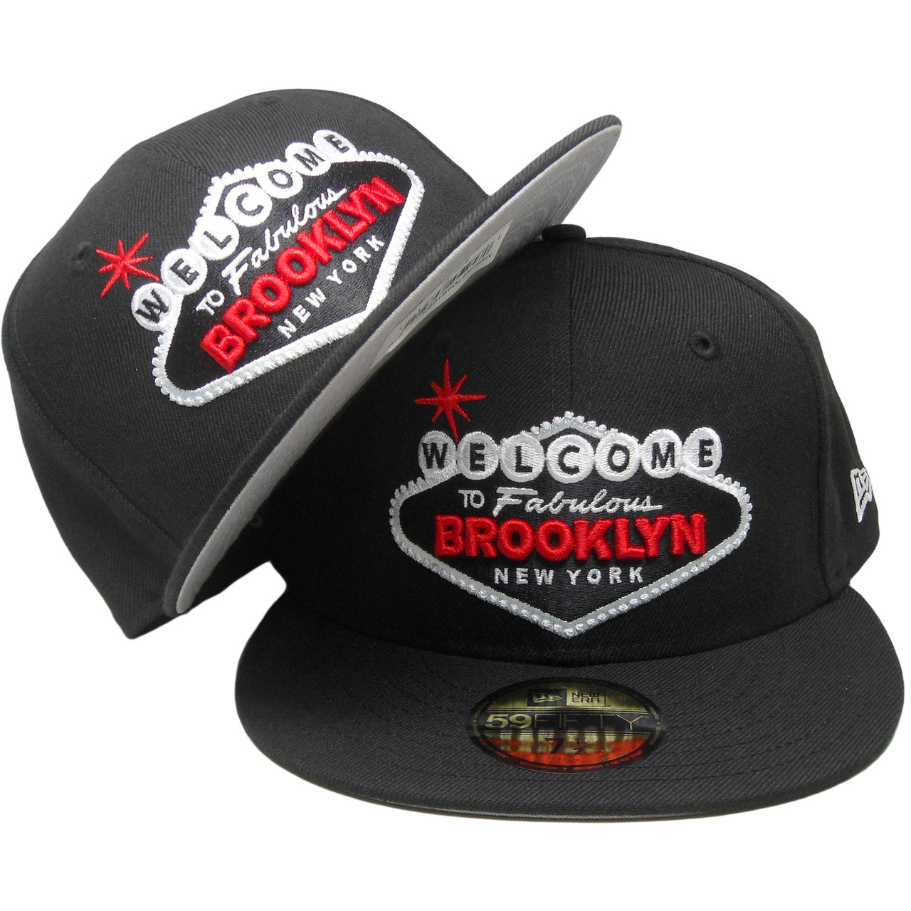 half off e03a4 18381 Welcome to Fabulous Brooklyn New Era 59Fifty Fitted Hat - Black, Red, White  - ECapsUnlimited.com