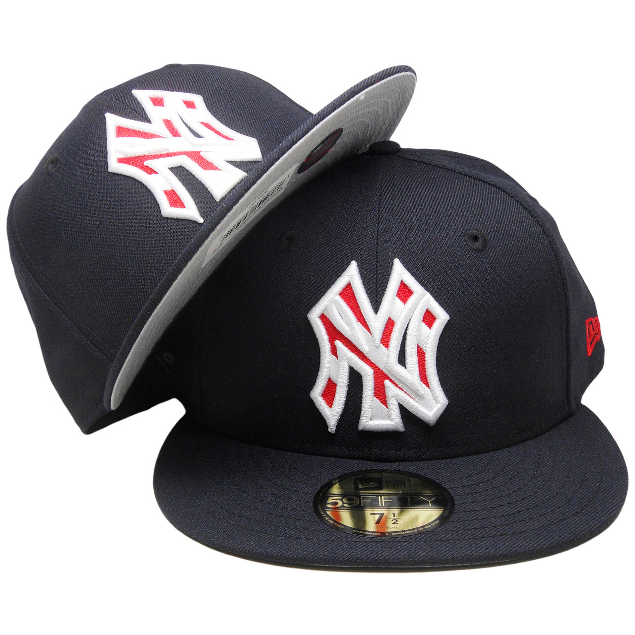 d23ef9c10480ad New York Yankees New Era Striped Logo 59Fifty Fitted - Navy, White, Red