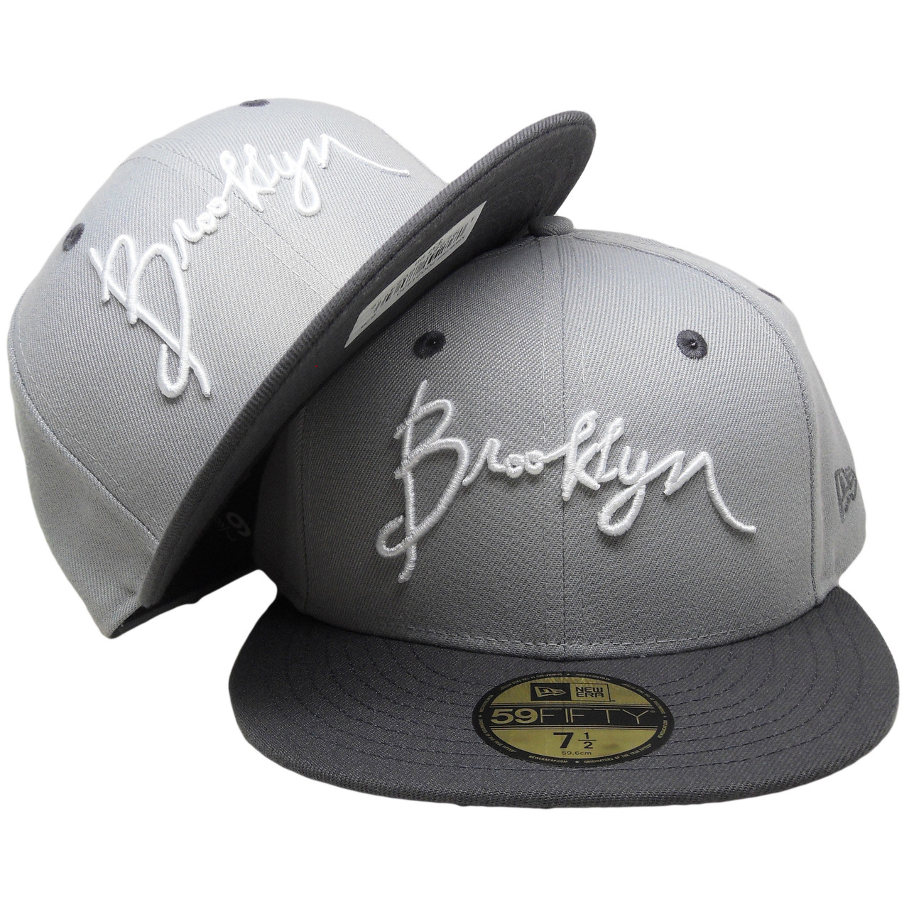 badc623c7 Script Brooklyn New Era Custom 59Fifty Fitted Hat - Gray, Graphite, White -  ECapsUnlimited.com