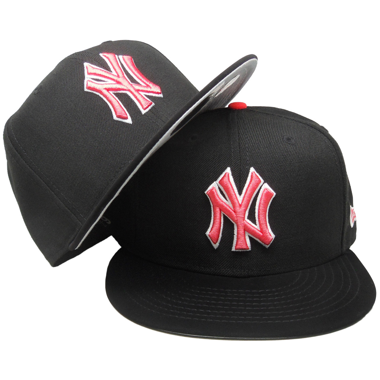 online store 21592 3f717 New York Yankees New Era Custom 59Fifty Fitted - Black, Infrared, White -  ECapsUnlimited.com