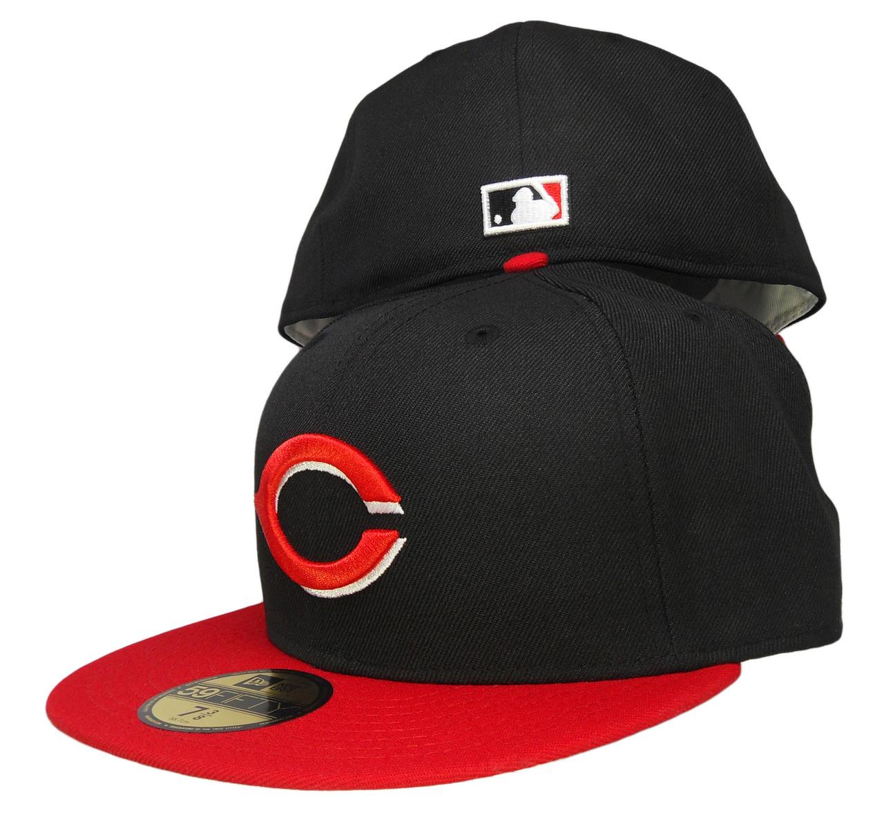 769b851b598a6a Cincinnati Reds New Era Gray bottom 59Fifty Fitted Hat - Black, Red -  ECapsUnlimited.com