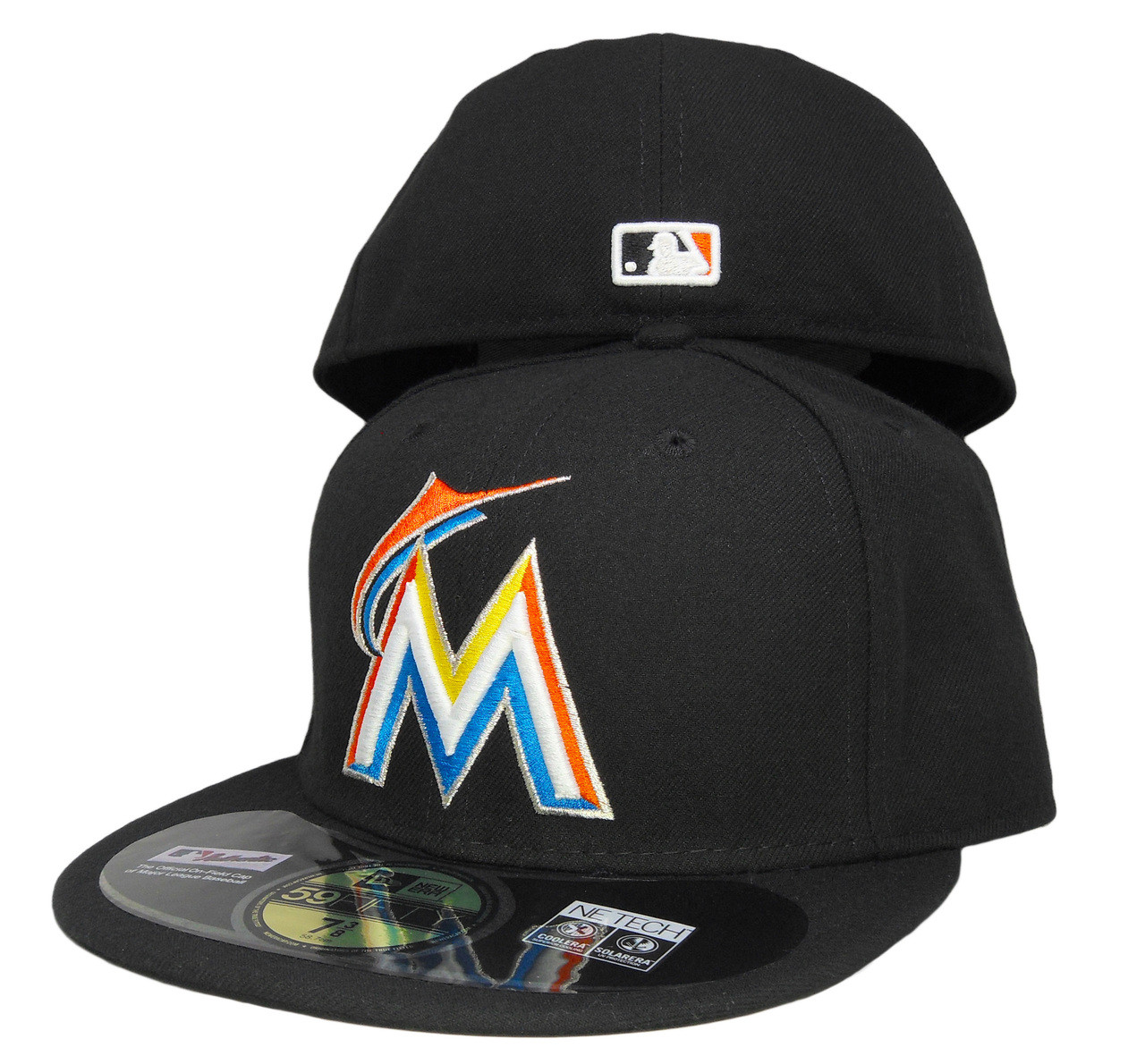 e7272f83 Miami Marlins New Era Home Onfield Fitted Hat - Black, Orange, Blue, Yellow  - ECapsUnlimited.com